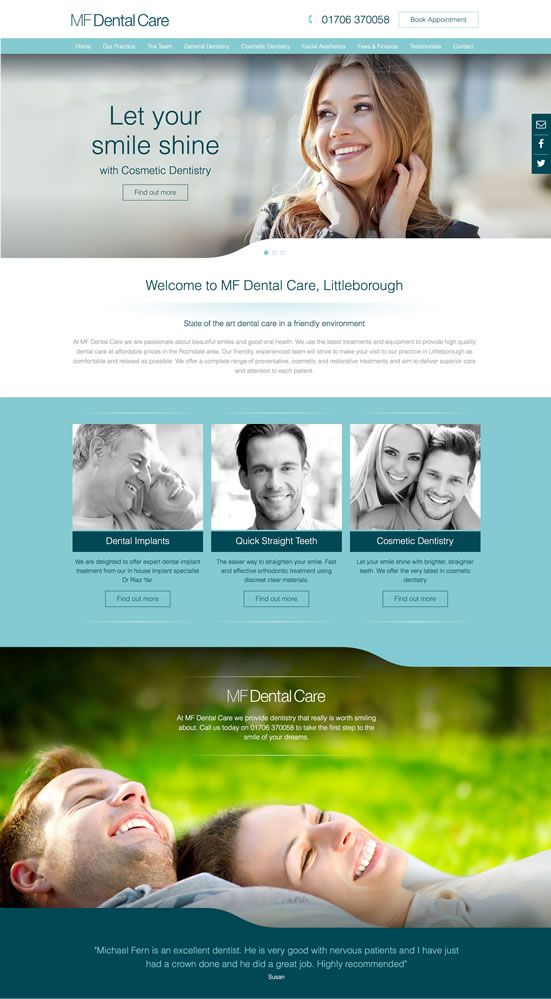 MF Dental Care, website design and production by design4dentists.com. Fully responsive websites for dentists in Littleborough