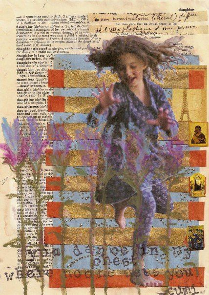 collage and paint on vintage dictionary sheet.   colette leisen