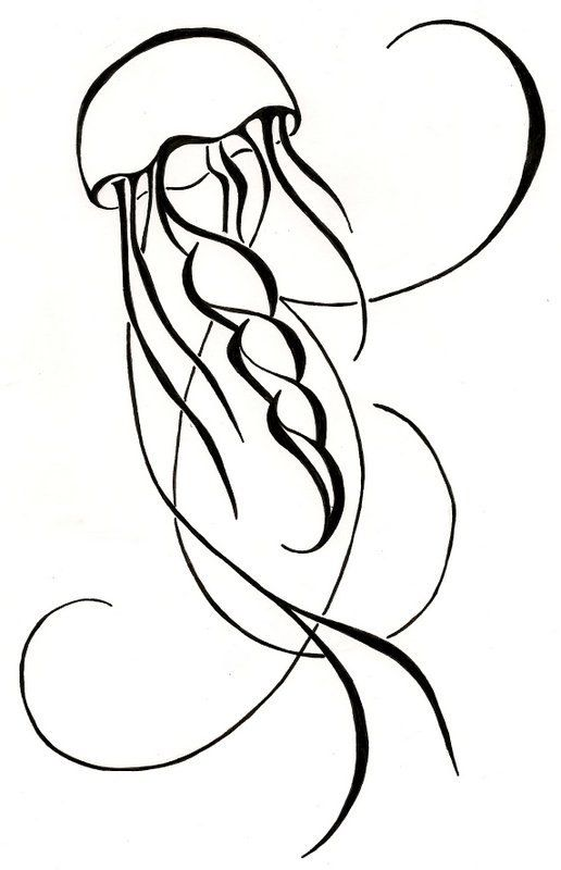 Line Art Jellyfish : Jellyfish drawing original tattoo black and white
