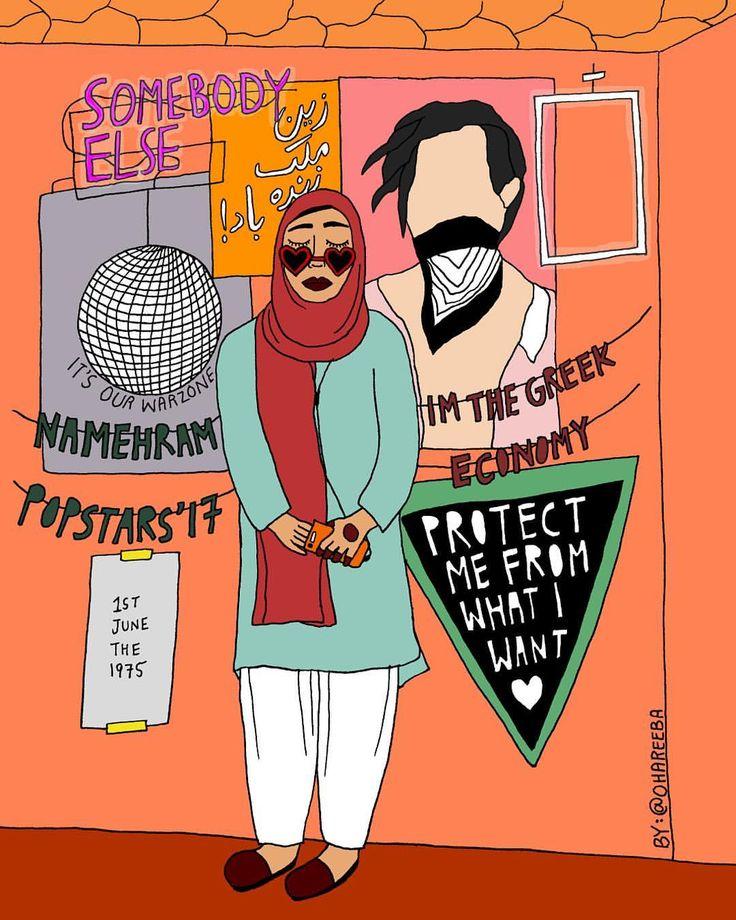 headphones under hijab and (as my amma says) a head full of namehram popstars  // illustration, muslim artists, mipster, fangirl, digital art, pakistani, desi, south asian, the 1975, matty healy in robbers, zayn malik zindabad //