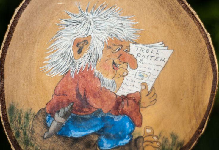 Hand Painted Troll Scene Wall Hanging Norwegian Signed by Artist Scandinavian