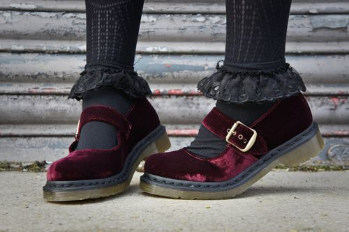 Velveteen Mary Jane Docs  i dont think anyone understands how much i want a pair of these, i've wanted some mary janes for a long time and now ive found velveteen ones i think i might die:'(