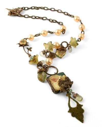 Vintaj Climbing rose necklace