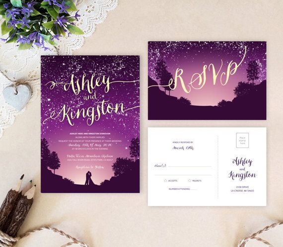 Romantic wedding invitation sets printed on premium cardstock. It is a perfect choice for your evening wedding reception. Custom wedding cards Return address printing on envelopes as low as 0.3$ per envelope: www.etsy.com/listing/241152140 WHAT YOU GET when purchasing printed wedding invitation set: - - - - - - - - - - - - - - - - - - - - - - - - - - - - - - - - - - - - - - - - - - - - - - - - - - - - - - Personalized flat wedding invitation (5 X 7) + white envelopes. The back si...