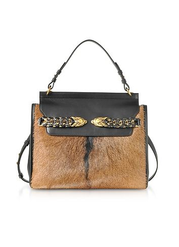 06166fbe0b94 Roberto Cavalli Black Leather and Natural Pony Hair Satchel Bag ...