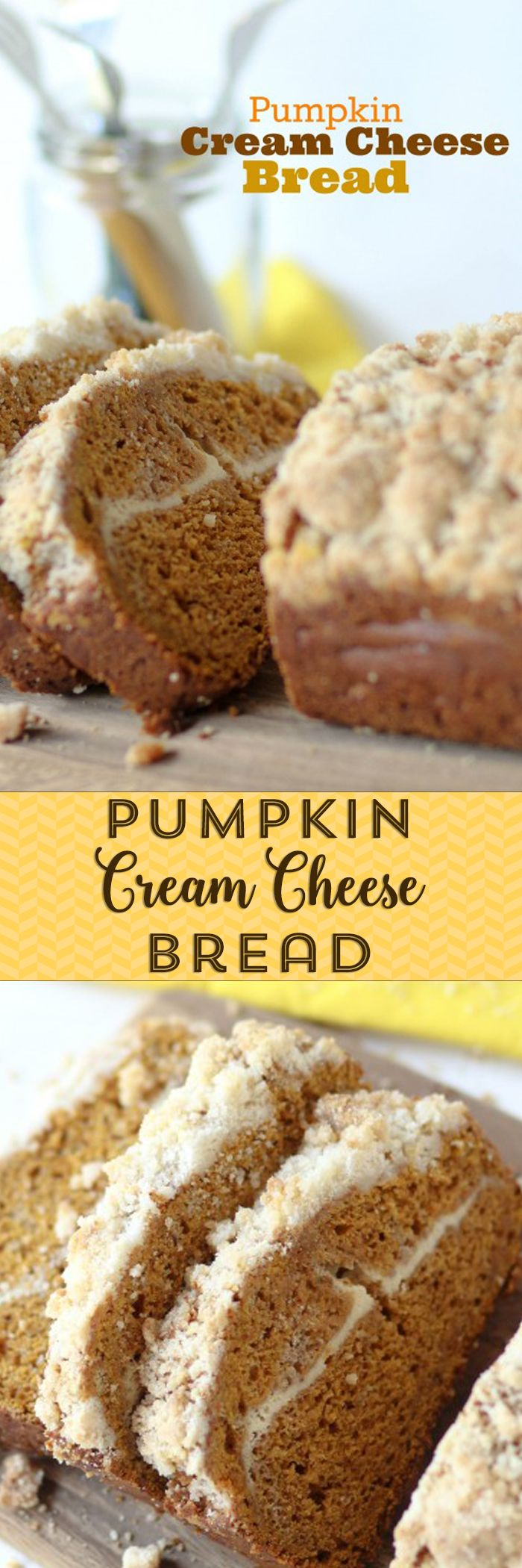 Pumpkin Cream Cheese Bread with streusel topping. Love this with a cup of tea on a Fall morning!