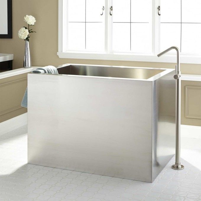 "48"" Amery Brushed Stainless Steel Soaking Tub"