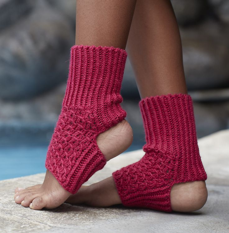 Free Knitting Pattern for Asana Yoga Socks - Yoga socks with a lace pattern top and ribbing. Worsted yarn. Designed by Cathy Carron