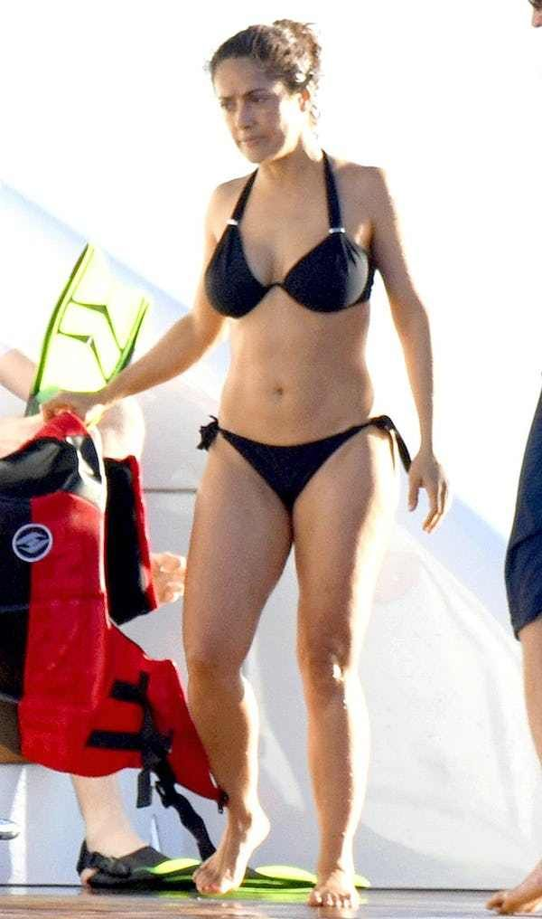 The hottest pictures of Salma Hayek in a bikini or other swimwear. The star of many movies including Once Upon A Time In Mexico and Desperado. Salma Hayek is one of the biggest stars in Hollywood and well respected for her acting ability, and famously large boobs. Salma Hayek is one of the ho...