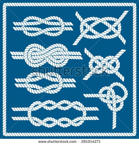Sailor knot set. Nautical rope infinity sign. Corner element. Rope frame border. Tying the knot. Graphic design element for wedding invitations, baby shower, birthday card, scrapbooking, logo etc.  - stock vector
