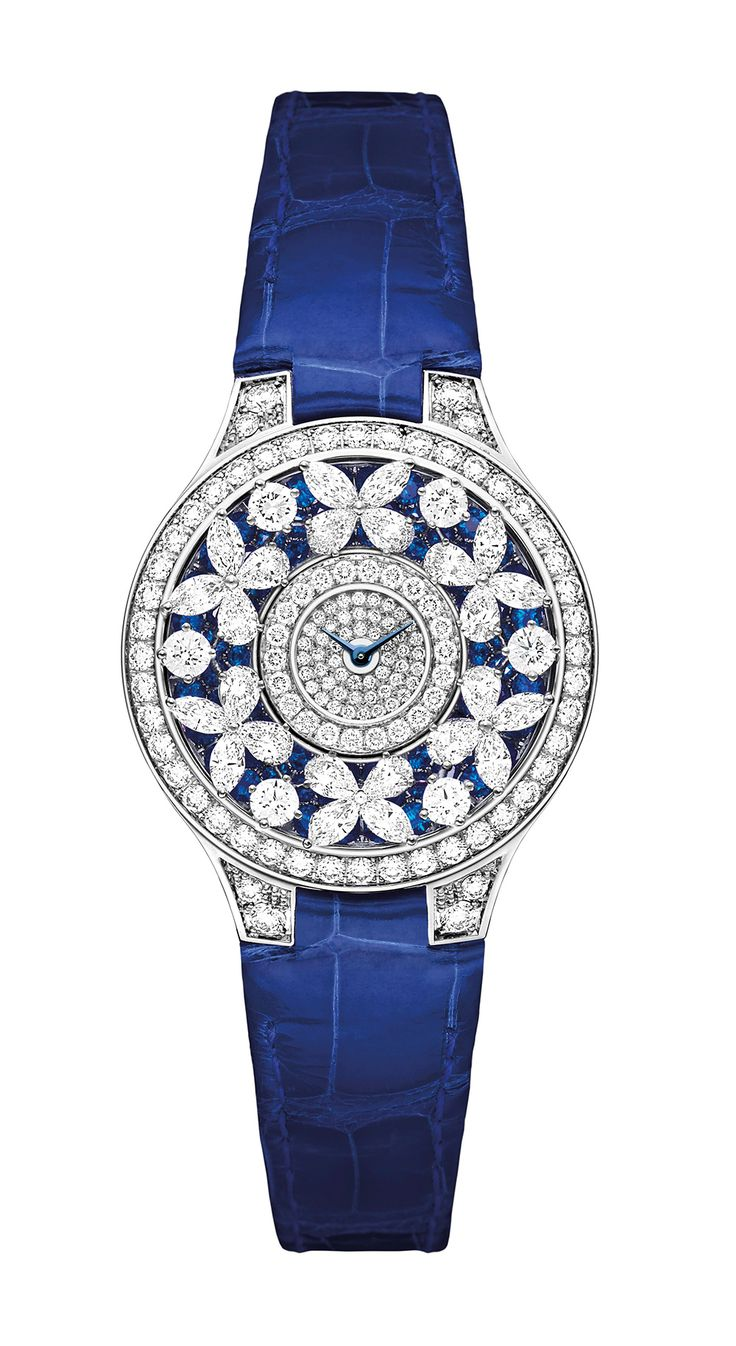 Graff Sapphire Butterfly Watch in white gold, set with 335 diamonds, 78 sapphires and 22 diamonds on the buckle, and fastened with a blue cr...