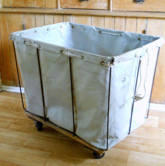 vintage industrial rolling laundry cart u2022 large rolling hamper bin