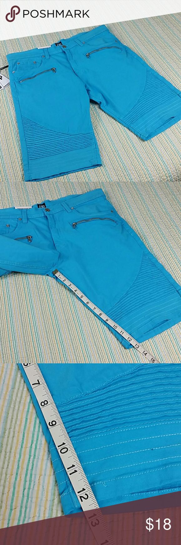 NWT Imperious Size 34 Moto Biker Rib Detailed Aqua NWT Imperious Size 34 Moto Biker Rib Detailed 7 Pocket Mens Shorts Aqua Blue $70 Imperious Shorts Flat Front