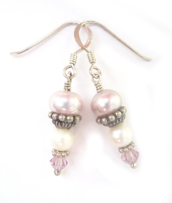 Handcrafted Using : ~ Fresh Water Pearls ~ Bali Silver caps and spacers ~ Sterling Silver hooks and findings ~ Swarovski Crystals Earrings measure