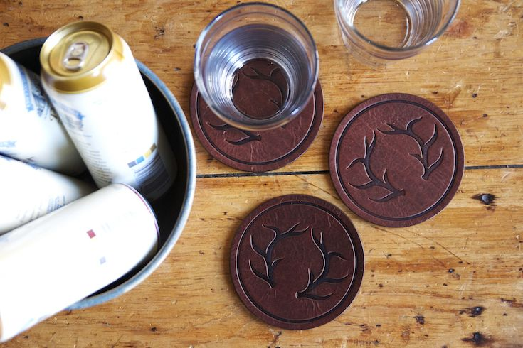 Vessel Coasters Antlers in Rustic Brown Leather