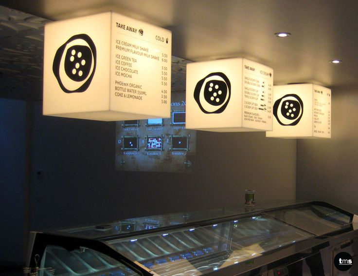 fluoro illuminated menu cubes, internally illuminated signage