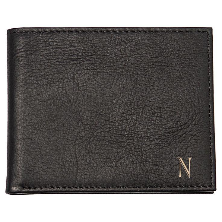 Monogram Bi-fold with Multi-Function Tool Groomsmen Gift Wallet - R, Men's, Black