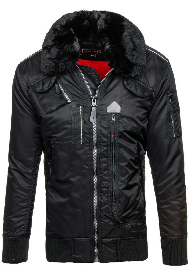Pánská černá zimní bunda Bolf 3095.  Vyrobeno pro Bolf firmou J.Style Odnímatelná kožešina u límce