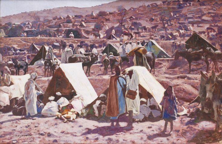 Jacques MAJORELLE (1886-1962) Marché dans le sud marocain Huile sur panneau, signée en bas à gauche. 61 x 90 cm - Gros & Delettrez - 22/05/2015