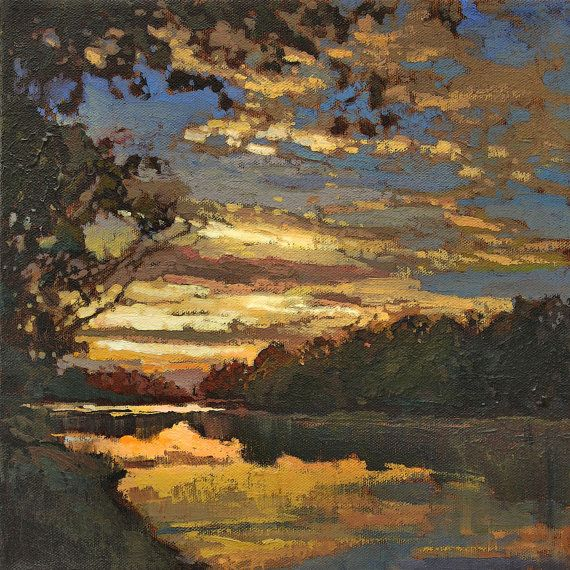 Lake Sunset Mission Arts and Crafts CRAFTSMAN Sunset  by gallery28