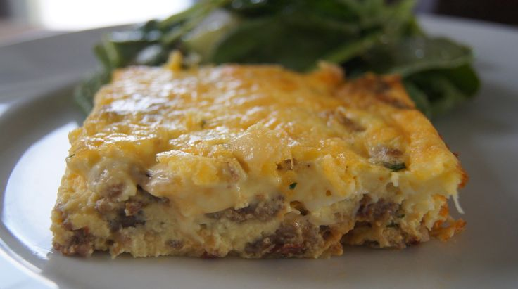 Sausage, spinach and sun dried tomato egg bake casserole.