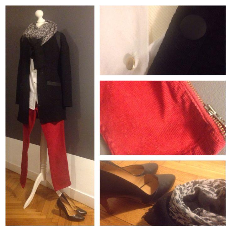 Le rouge et le noir blouse Murphy #sezane gilet Moretti #sezane pantalon velours zippé aux chevilles #comptoirdescotonniers escarpins Boston #sezane foulard #comptoirdescotonniers #ootd #outfitideas #reallifeoutfit