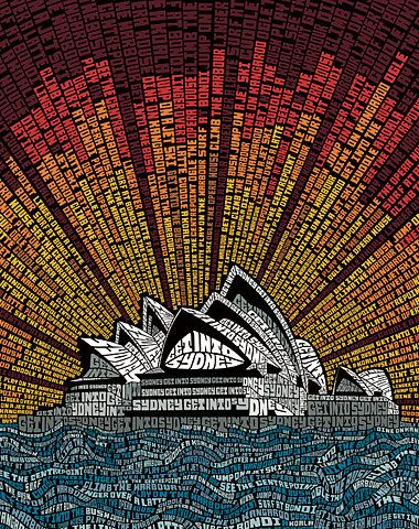 graphic word art for Sydney Australia. Love the use of color here.
