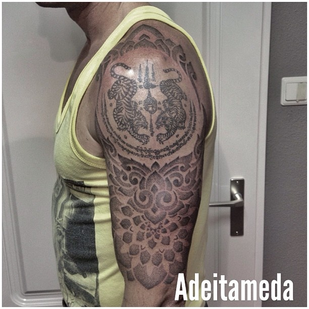 Thai Mantra & Indonesian ornament Tattoo (by him