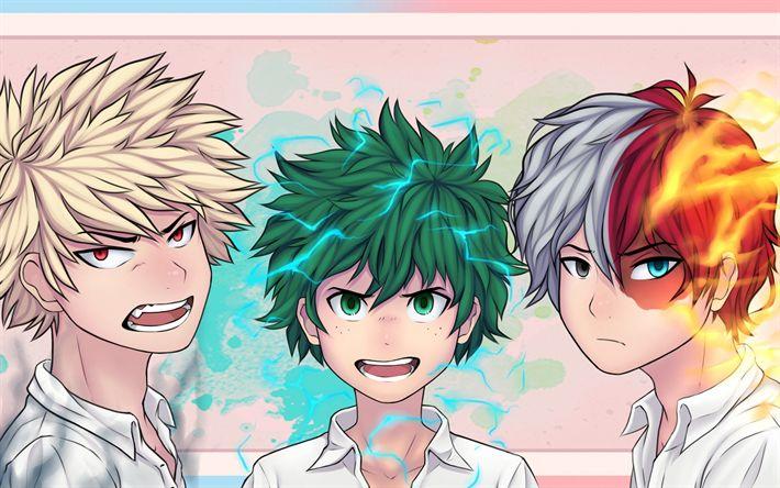 Scarica sfondi Boku no Hero Academia, Shouto Todoroki, Izuku Midoriya, Katsuki Bakugou, My Hero Academia Wallpaper Glass, Hd Wallpaper, My Hero Academia Memes, Fanart, Me Me Me Anime, Anime Guys, Neko, Manga Anime, Chibi