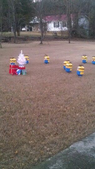 A minion Christmas!!!! Propane tank upcycled into minions!