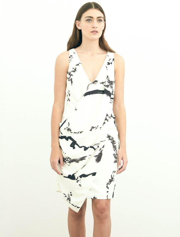 Talulah - Marble Cross-Over Midi Dress