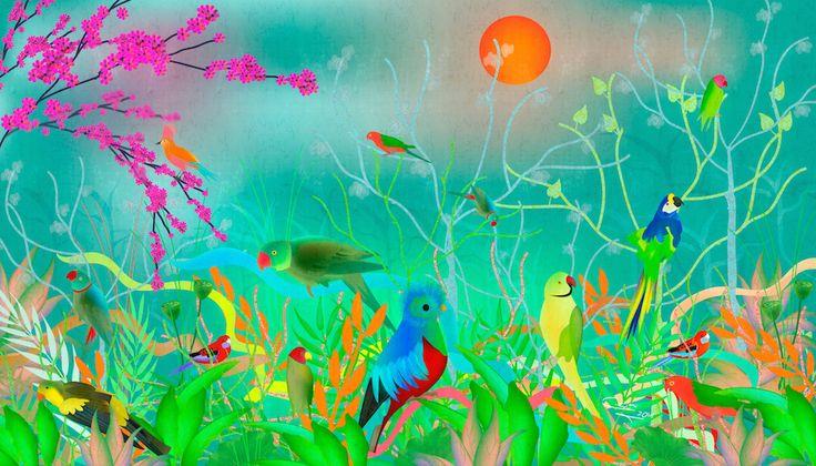 Green landscapes with parrots #RevolutionartDesign