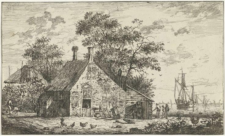 Hendrik Kobell | Boerderij aan een rivier, Hendrik Kobell, 1768 | Boerderij bij een rivier met op de voorgrond enkele kippen en een haan. Tegen de voorkant van de boerderij staan een kruiwagen en een kribbe, en in de deuropening staat een figuur. Links loopt een man met een geit en rechts staan drie figuren bij een kleine schuur met duiventil. Op het water zijn enkele zeilschepen te zien en op de achtergrond zijn de contouren van een kerk en molens zichtbaar.