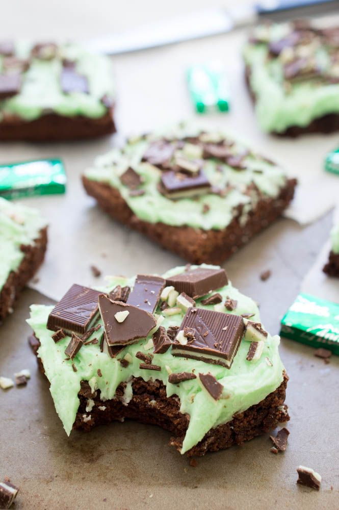 Chocolate Mint Andes Brownies topped with a thick layer of Peppermint Buttercream Frosting.
