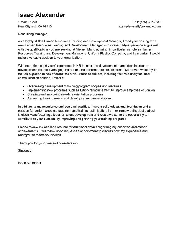best training and development cover letter examples