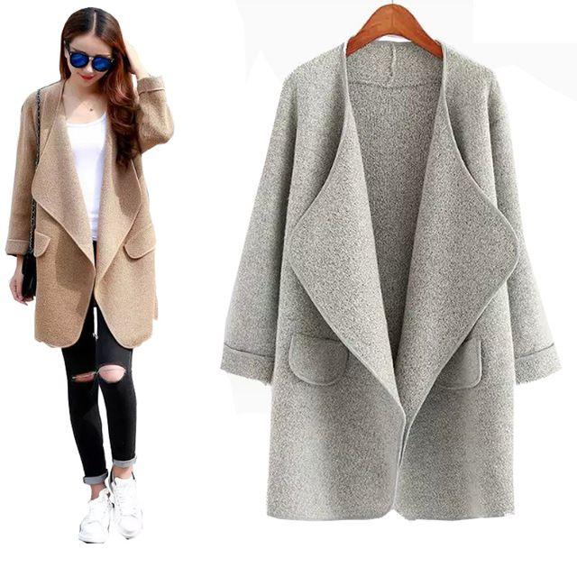 Mode nouvelle arrivée lâche chandails tricotés manteau Cardigan Long Pull Femme 2015 automne hiver Slim Cardigans Jumper Pull Femme