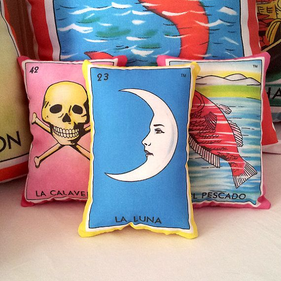 ON SALE Luna (moon) Mexican Loteria Mini Pillow with Lavender - Dia De Los Muertos / Day of the Dead, Mexican wedding party favor