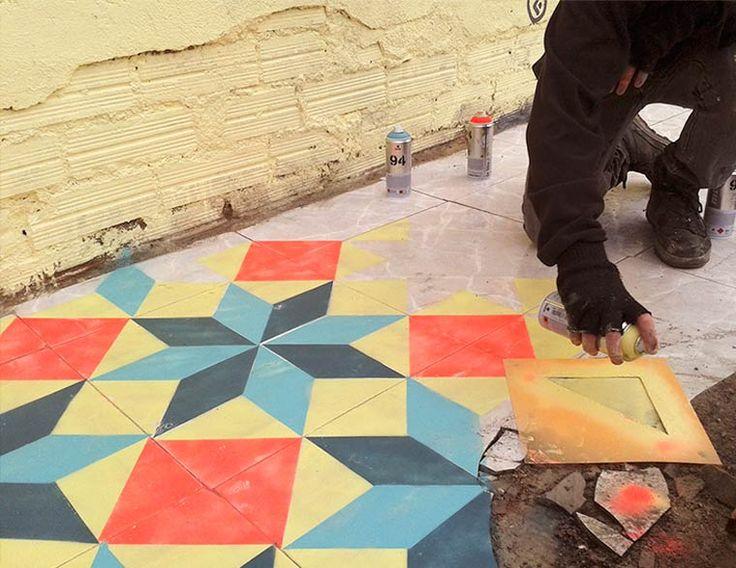 Floor-Street-Art-Javier-de-Riba-11 Floors Street Art – Peindre du carrelage coloré dans des bâtiments abandonnés