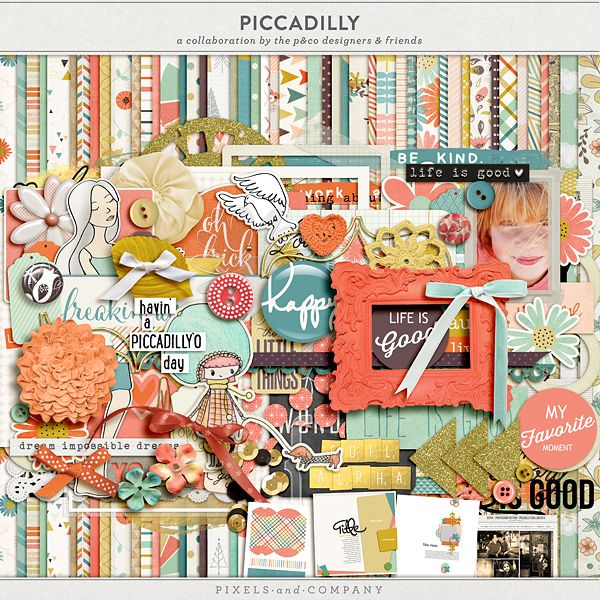 Scrapbooking Blog Train - October 2013, Pixels & Co, Piccadilly. Grab the codes off the blogs and use them for this beautiful digital scrapbooking collaboration kit!