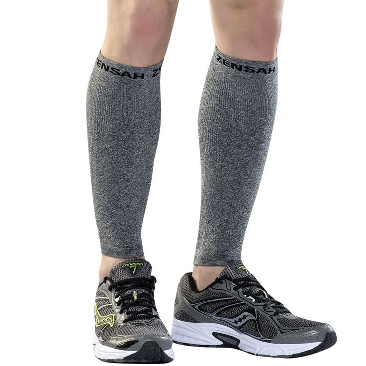 Zensah Compression Leg Sleeves, Heather Grey, X-Small/Small. Shin Splint Relief: The Zensah Compression Leg Sleeves were designed by professional athletic trainers to specifically target shin splints. The v-shaped chevron ribbing on the front of the sleeve provides the same relief as kinesiology tape. Used by Athletes of All Levels: From Olympic Athletes to novice runners, basketball players, fitness enthusiast, and more, the Zensah Compression Leg Sleeves are a favorite among athletes....