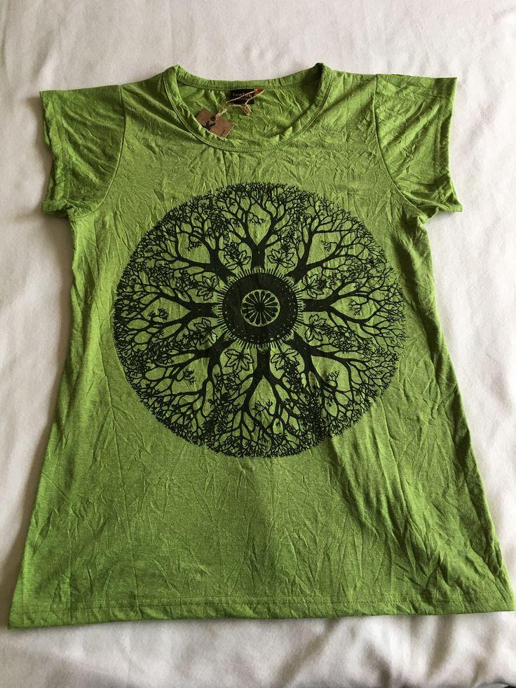 Women's Mandala T-shirt in Green, Hippie t-shirt, Yoga, meditation, festival clothing, spiritual clothing, tribal, mandala, yoga wear by ShivaMoonStore on Etsy
