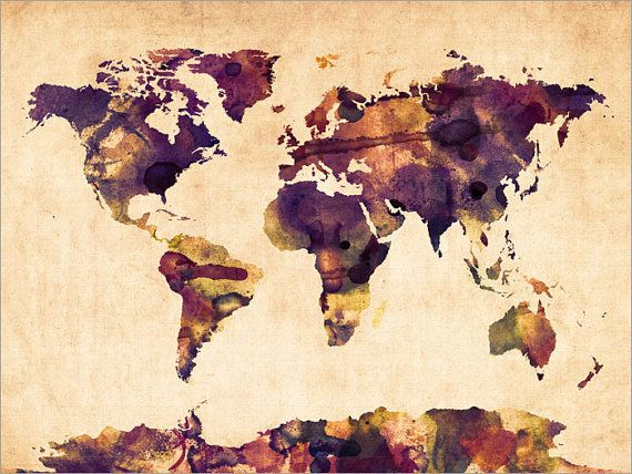17 best cartes du monde images on pinterest worldmap world maps watercolor map of the world map art print 104 gumiabroncs Images