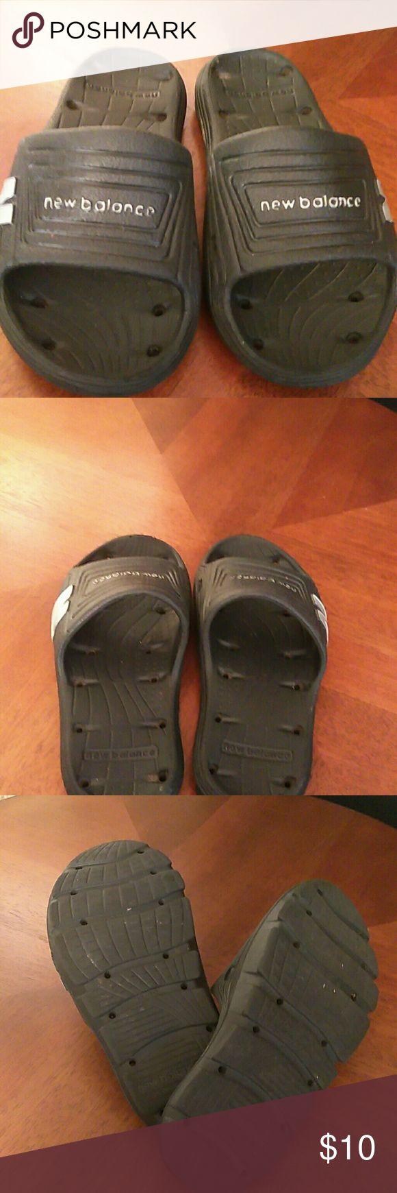 """""""New Balance""""   flip flops Black , rubber , slide on flip flops with gray logo. New Balance Shoes Sandals & Flip Flops"""