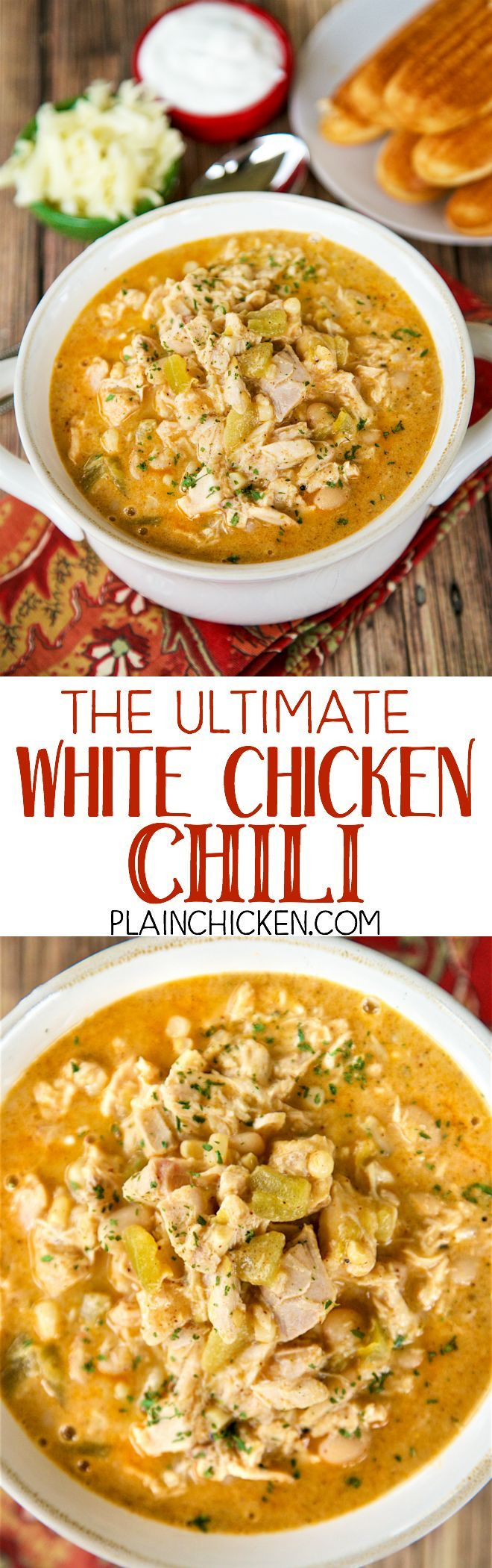 The Ultimate White Chicken Chili - the BEST of the BEST White Chicken Chilis! SO good and ready to eat in under 20 minutes! Rotisserie chicken, white beans, corn, green chilies, chicken broth, onion, garlic, cumin, chili powder, half-and-half, pepper jack cheese. Top with some sour cream and extra cheese. Makes a ton. Freeze leftovers for a quick meal later.