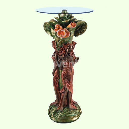 Кофейный стеклянный столик Грация (А). Стеклянные журнальные столы статуи