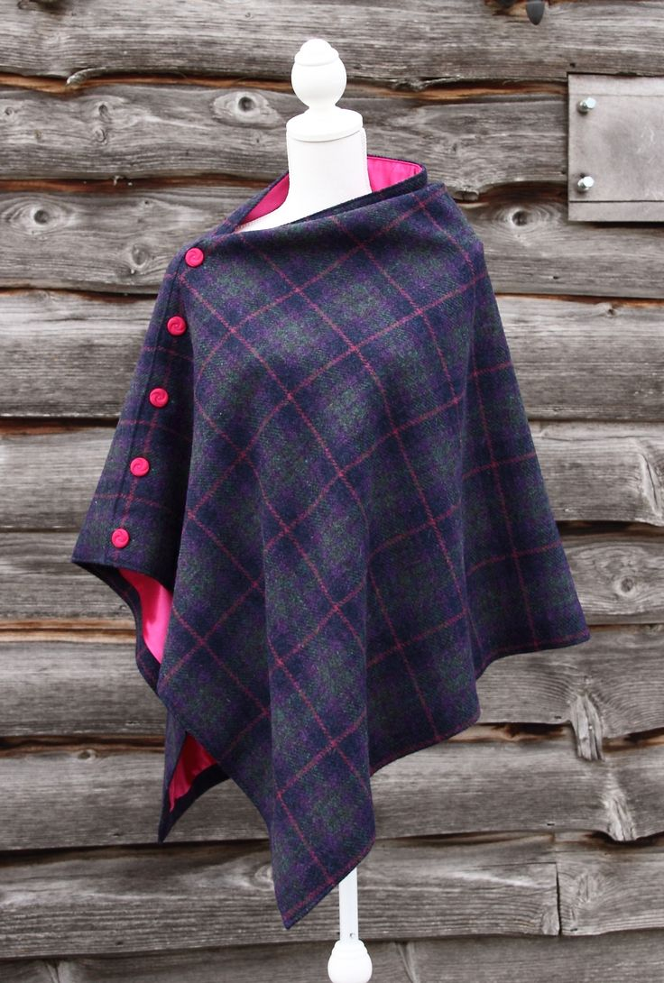 Harris Tweed Plum Cape