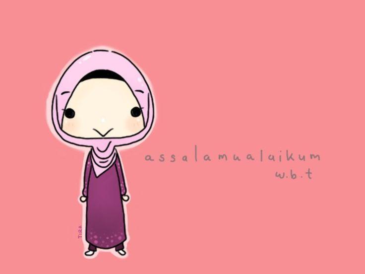 Chibi Muslim Woman Saying Salams