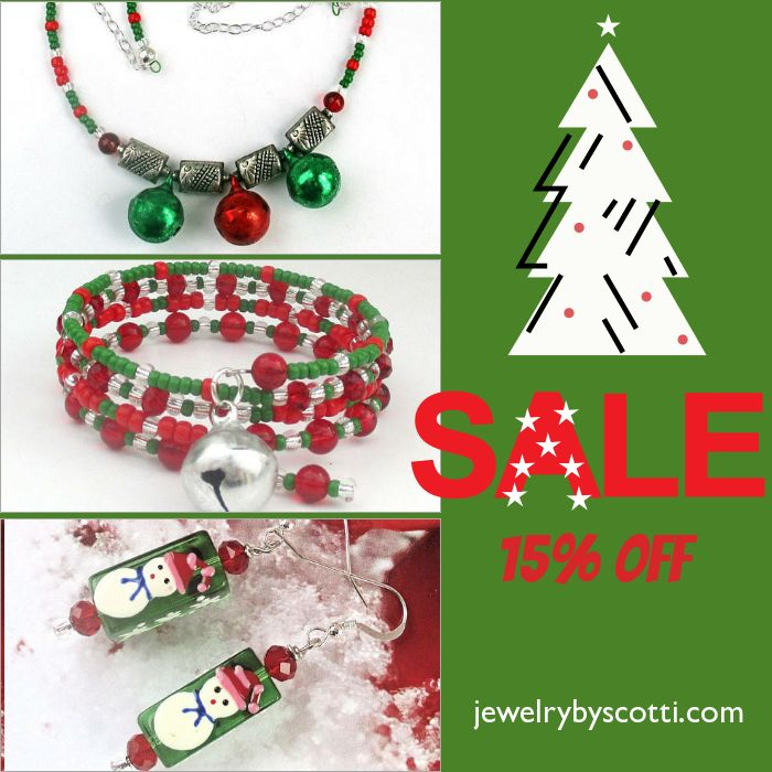 """It's called """"dressing the part"""". BE a holly, jolly Christmas! Shop now:https://small.bz/AApSj5I #handmadejewelry #jewelryonsale #christmasjewelry #jewelrybyscotti https://www.etsy.com/shop/JewelryByScotti"""