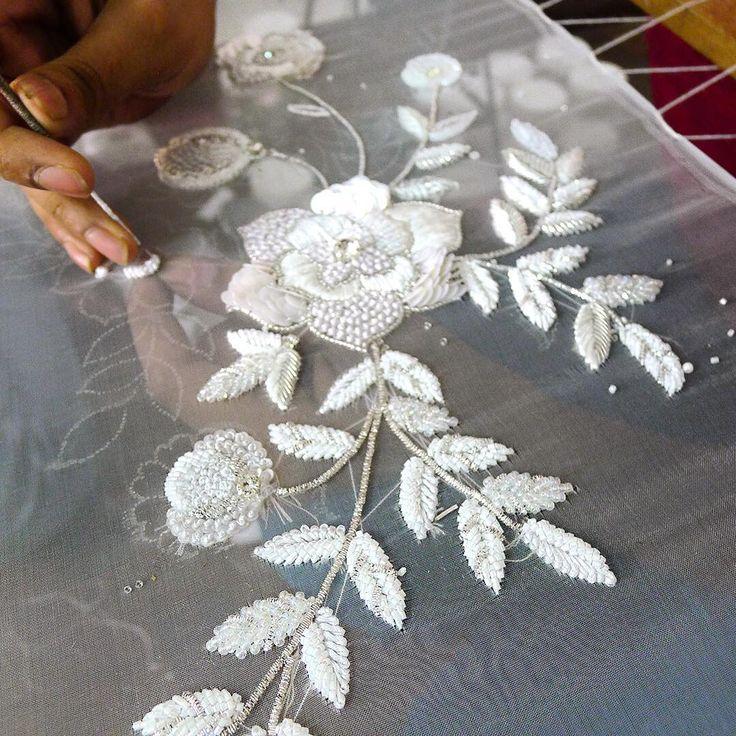 Bridal #beading... White #floral #handembroidery #design #weddingdress #bridalcouture #custommade #style #fashion #bridalfashion #bridal #ethicallymade  #gown #wedding #dress #heirloom #luxury #flower #bridetobe #bride #sayyes #ido #love #summerwedding2016