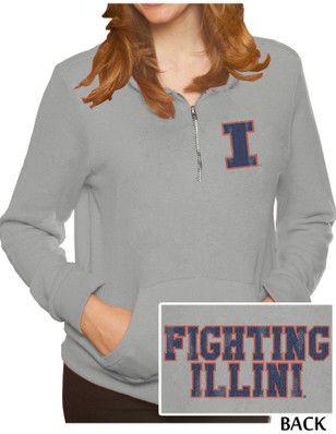 Original Retro Brand Illinois Fighting Illini Womens Tri-Blend Fleece Grey 1/4 Zip Pullover